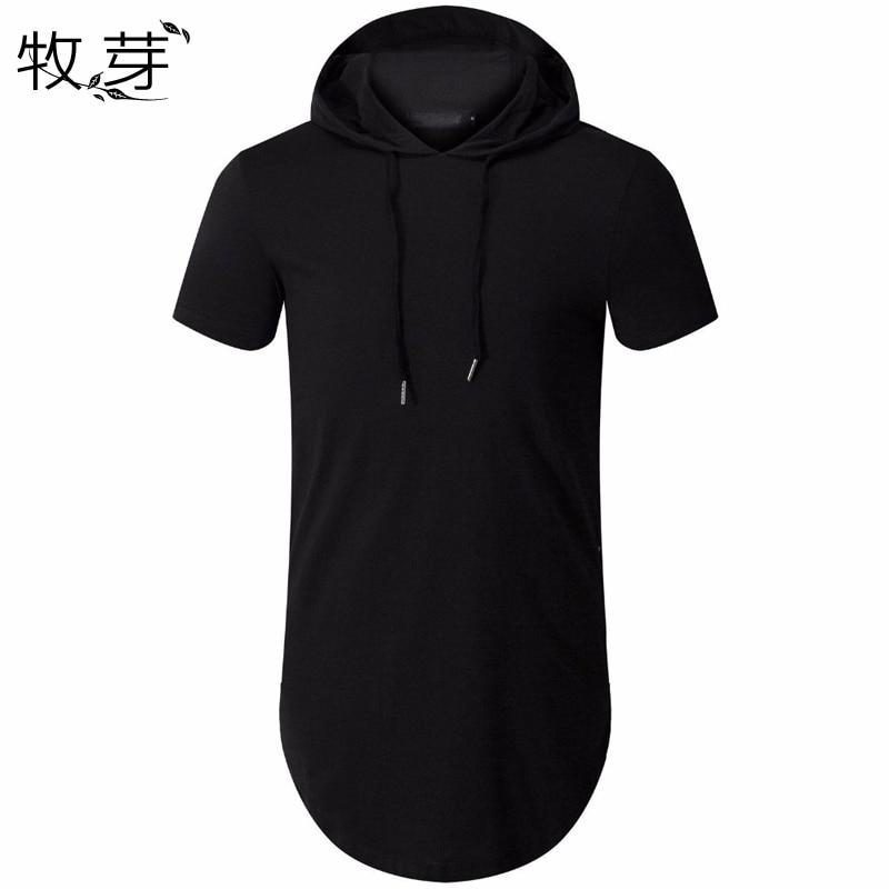 New Arrived Men's Hipster Hip Hop Short Sleeve Hoodie Side Zipper T shirt Men short sleeve Hoodies Hooded design long hoodies