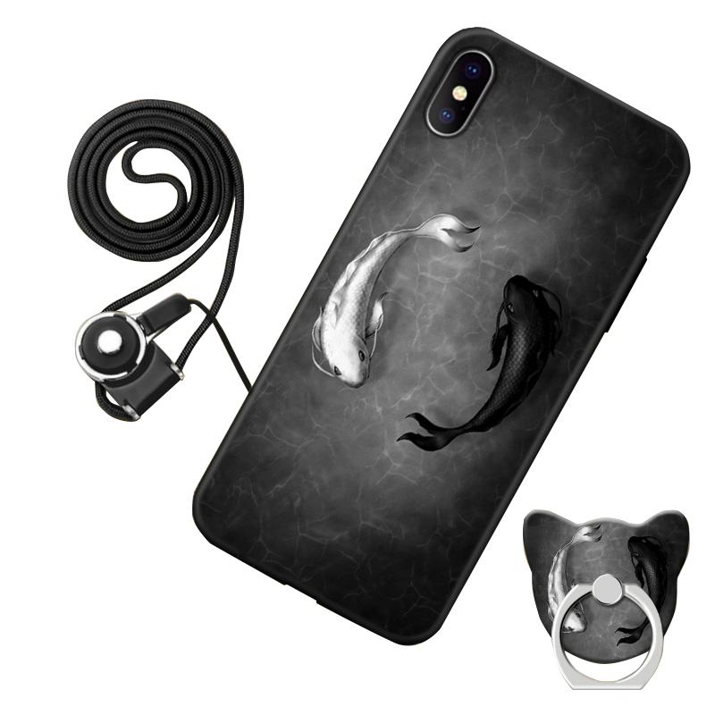 Xiaomi Mi 8 explorer edition Case Cute Style Black Frame Cartoon Painted Phone Shell Cover Xiaomi Mi8 explorer rope holder#001