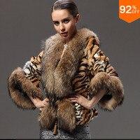Рождество вещи женские куртки с натуральным лисьим мехом пальто верхняя одежда из натурального меха тигра полосатая накидка плюс Размеры ж