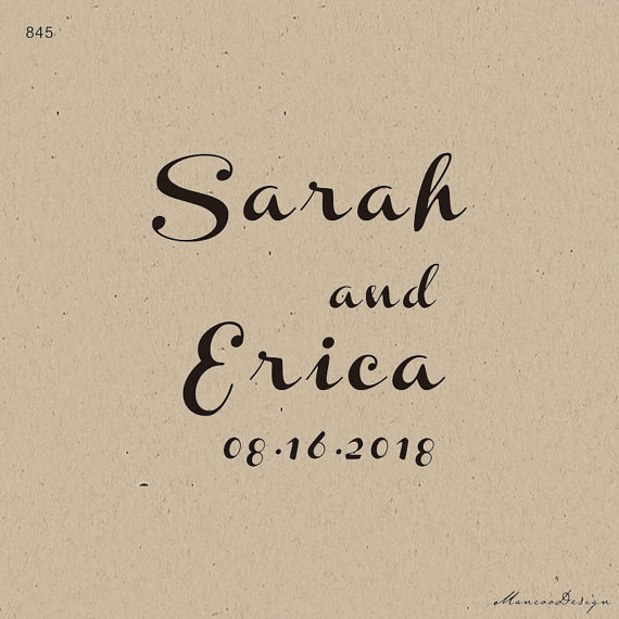 save the date stamp diy invitation stamp french script names and