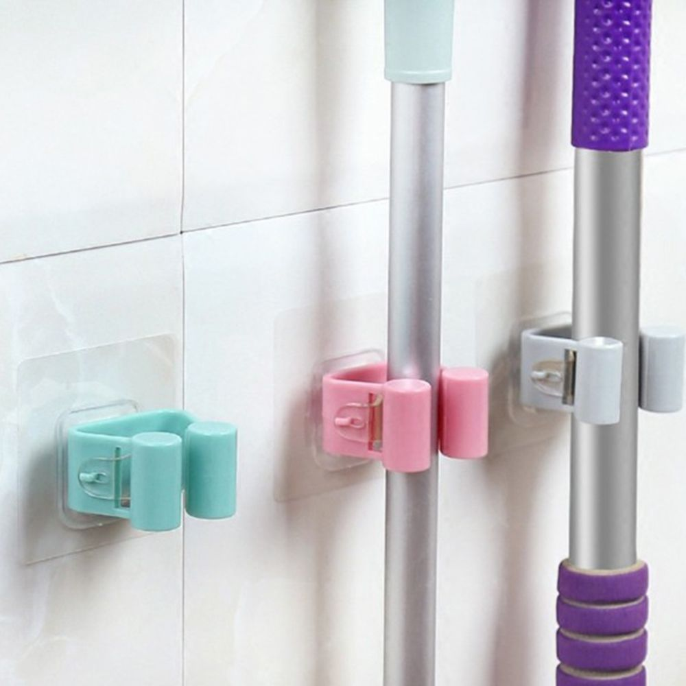Universal Self-adhesive Wall Mounted Mop Holder Brush Broom Hanger Storage Rack Kitchen Organizer Kitchen Tool