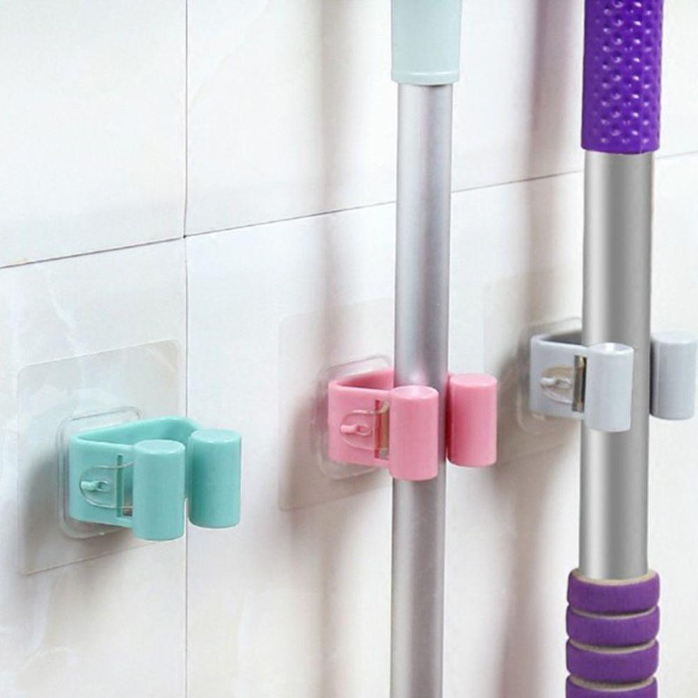 Universal Self-adhesive Wall Mounted Mop Holder Brush Broom Hanger Storage Rack Kitchen Organizer Kitchen Tool