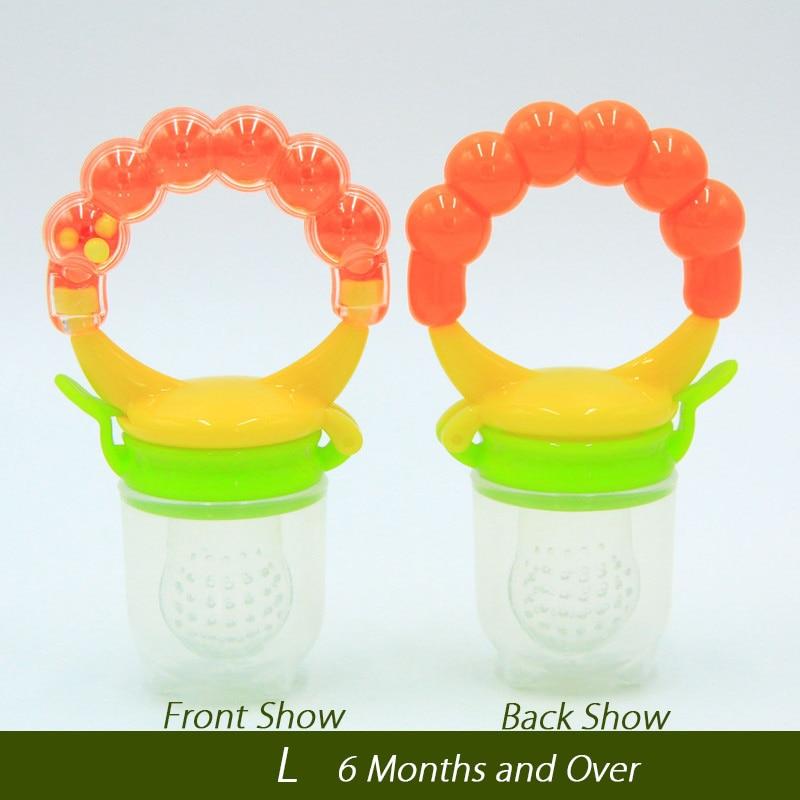 1 шт. свежий Ниблер для кормления ребенка соска для кормления дети фрукты Фидер соски Кормление безопасные детские принадлежности сосок соска бутылки - Цвет: Orange L