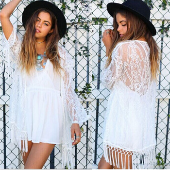 YCDKK 2017 New Summer Swimsuit Lace Hollow Crochet Beach Bikini Cover Up Sexy Women Tops Swimwear Beach Dress White Beach Dress