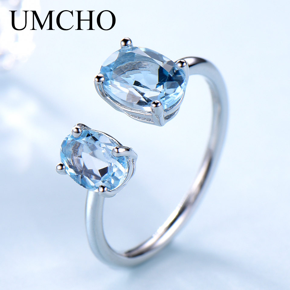 UMCHO 10.7ct Natural Sky Blue Topaz Gemstone Rings for Women Solid 925 Sterling Silver Engagement Adjustable Ring Fine Jewelry
