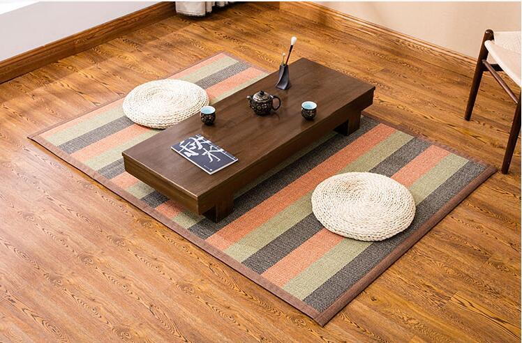 Tapis en bambou tissé grand tapis Rectangle Tatami Portable tapis de mode Designer tapis en soie de bambou pour salon de chambre