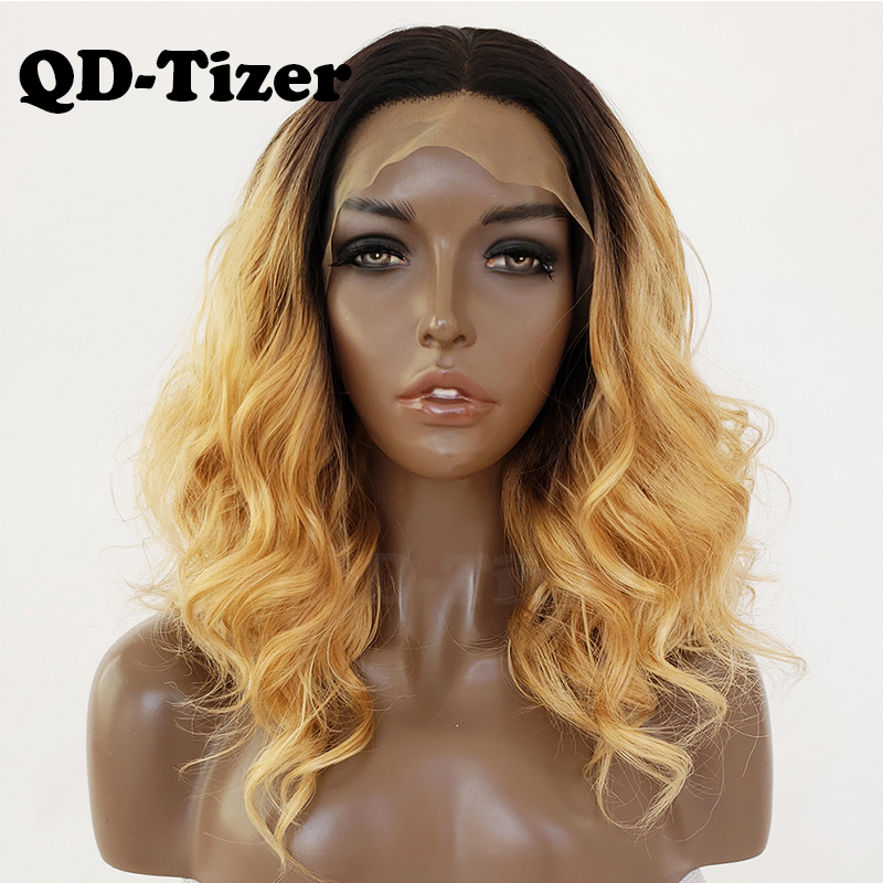 QD Tizer Ombre Blonde Loose Wave Synthetic Lace Front Wig Short Lob Hair Glueless with Baby