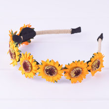 CXADDITIONS Sunflower Handmade Wrap Wire Wreath Stretch Headband Bohemian Orange Floral Flower Crown Party Wedding Hair Band(China)