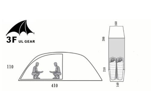 3f ul vitesse 2 persoon 2 kamer 4 seizoen Tunnel tente 15D de silicium en plein air camping wandelen klimmen ultra-léger grote ruimte 210 t te