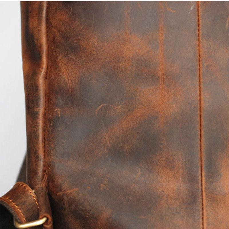Высококачественная прочная мужская сумка на плечо из натуральной кожи Horse Oli, водонепроницаемый рюкзак для путешествий, кожаная сумка кремо... - 5