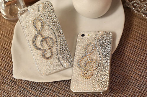 Diamond Musical Note Bling Pearls Rhinestones Hard Back Case Cover For Samsung Galaxy J5 2016 J7