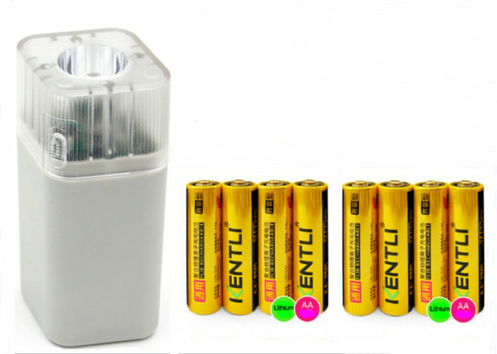 ФОТО 8pcs 1.5V AA 2400mWh Lithium Rechargeble Battery + 4 slots aa aaa charger with led flashlight
