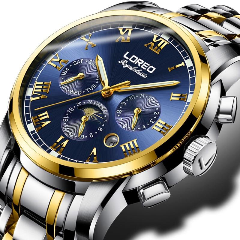 LOREO Mens Business Watches Relogio Masculino Fashion Watch Men Flywheel Auto Mechanical Stainless Steel Wristwatch Gift O46