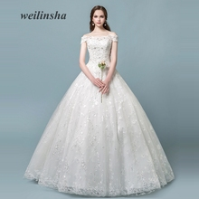 weilinsha New Sparkly Appliques Tulle Wedding Dress 2018 White Ivory Bridal  Gowns Ball Gown Boat Neck c76fd1ba9855
