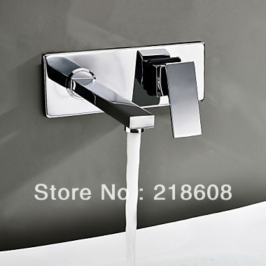 ФОТО Square Wall Mounted Water Tap Bathroom Faucet Mixer