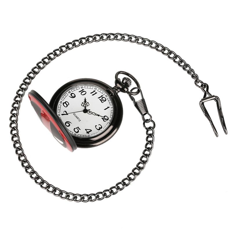 Купить с кэшбэком Relogio Feminino Cool Fashion Deadpool Theme Fob Pocket Watch With Black Chian Necklace Best Gift for Pocket Watch Children loki