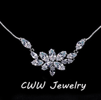 Ice Flower Marquise Cut Swiss CZ Diamond Bridal Pendant Necklace Free Shipping CWW CP005