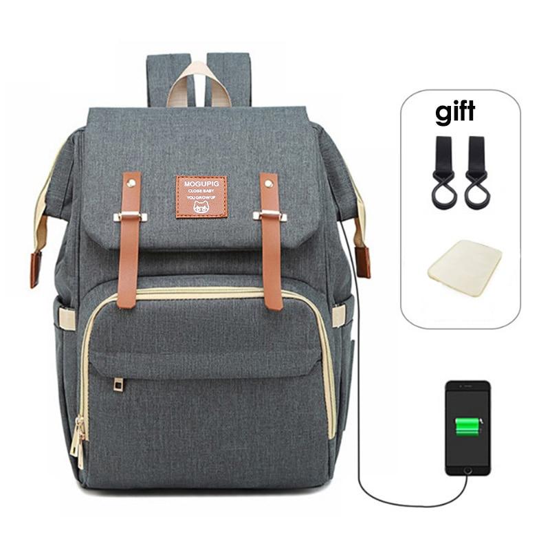 Baby Diaper Bag Backpack Mummy Daddy USB Backpack Stroller Nappy Bag Waterproof Oxford Handbag Nursing Bags