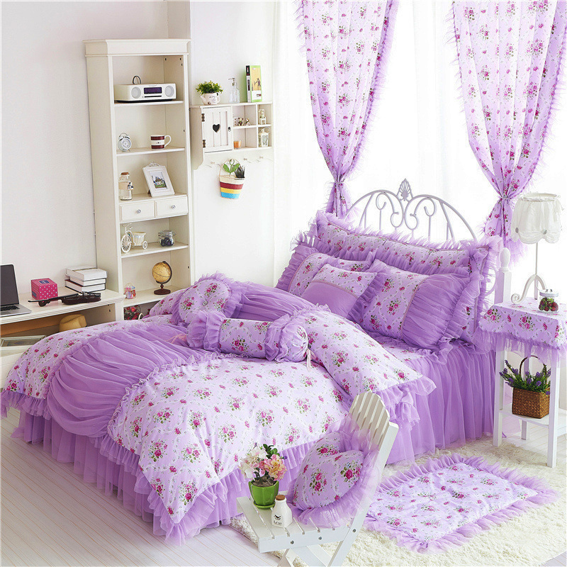 Princess bedclothes 100% cotton bedding set bed skirt style Home Textile duvet cover pillowcase king queen full twin size doublePrincess bedclothes 100% cotton bedding set bed skirt style Home Textile duvet cover pillowcase king queen full twin size double