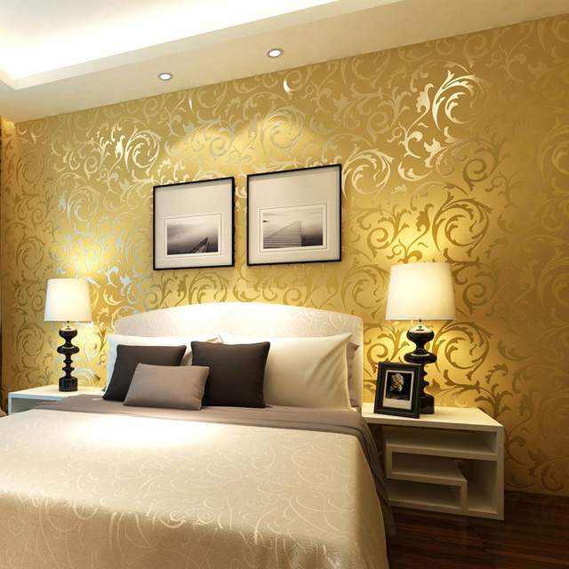 Q Qihang High Quality Victorian Damask Embossed Textured Wallpaper