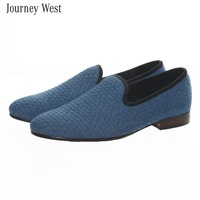 2014 New Arrival Fashion Mens Loafers Denim Knitted Smoking Slipper Flats Rocha Brand Driving Shoes Luxury