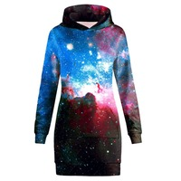 JSMY New fashion Space Galaxy Starry Sky Long Sweatshirt Casual Pullover Hooded Top