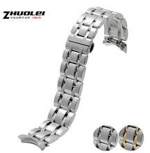 Ver accesorios de 22 mm 23 mm 24 mm de plata para hombre Solid Stainless Steel Watch Band correa pulseras para T035