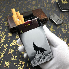 Alalinong N13 Aluminium Alloy Automatic Metal Cigarette Case King Wolf Totem Cigarette Box Smoking A