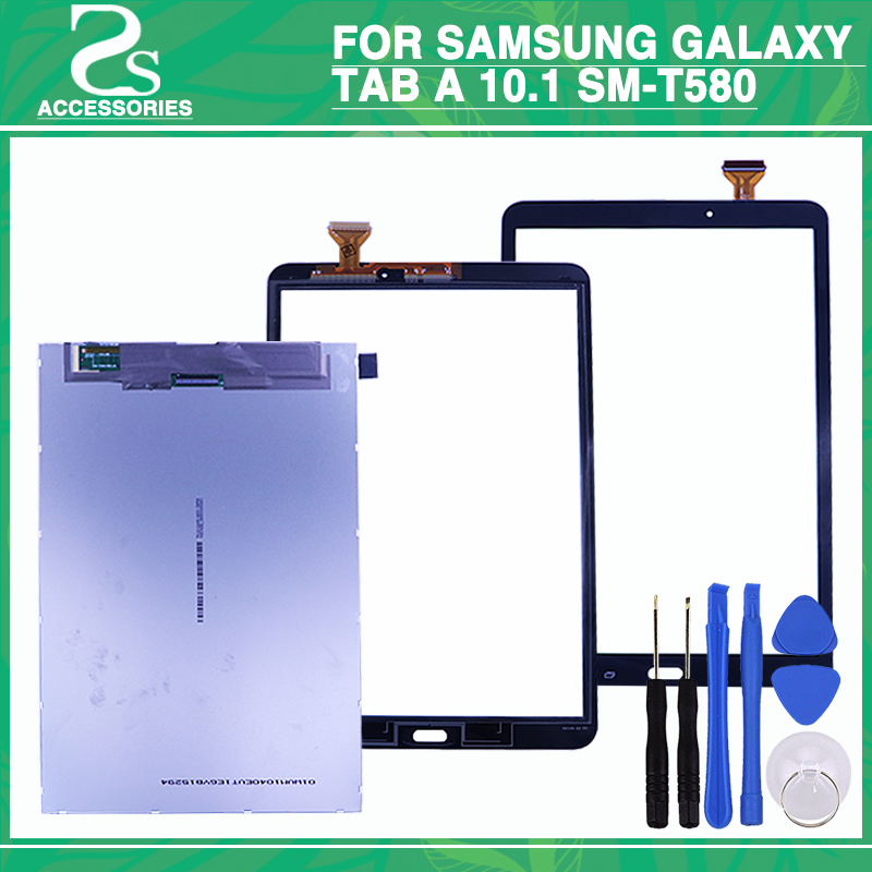 New T580 LCD Touch Screen For Samsung Galaxy Tab A 10.1 SM-T580 LCD Display Touch Panel Sensor Glass Digitizer Panel+Tools for south s730 handheld data collector lcd screen display touch screen touch panel digitizer glass