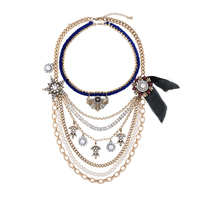 Euro-American Convertible Statement Necklace Party Women Chunky Acrylic Pearl Rope Twisted Multichain Necklace