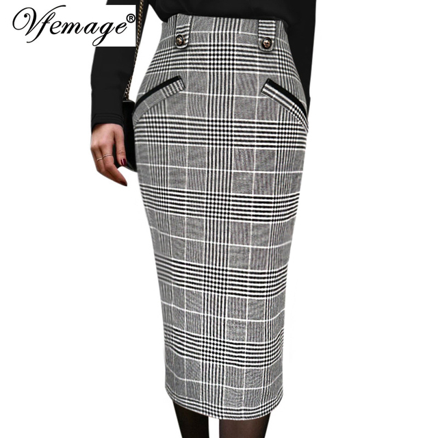 2fb05a4f05 Vfemage Womens Vintage Retro Elastic High Waist Check Print Slim Fitted  Work Office Party Casual Bodycon Midi Pencil Skirt 10113