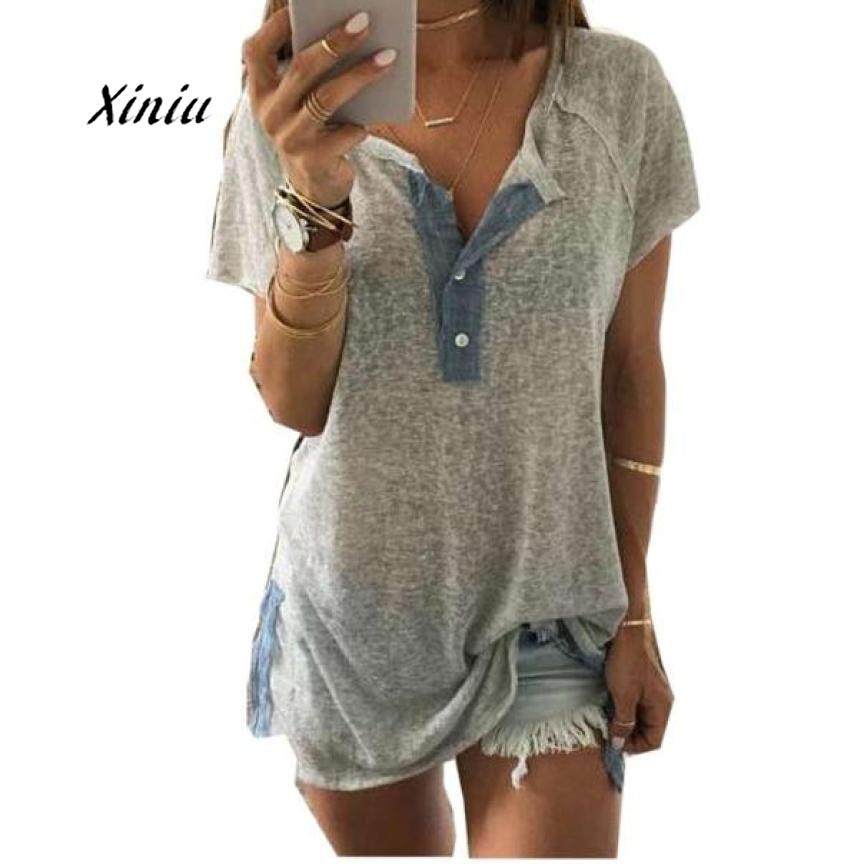 2018 Summer Women Sexy Loose Casual Button Clothes T Shirt Tops Casual Short sleeve V neck Female Soft Clothing S-XXXL
