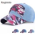 2015 New Camo Baseball Cap Women 3 colors cowboy cotton Golf Caps  Casual Letter Print Sun Hats  Snap Back Trucker Hat LQJ01068