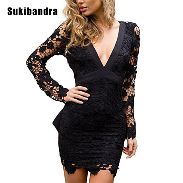 Sukibandra Summer Sexy V Neck Lace Bodycon Party Mini Wrap Dress Pink Black Club  Wear Long Sleeve Backless Women Bow Dresses a5bce9269974