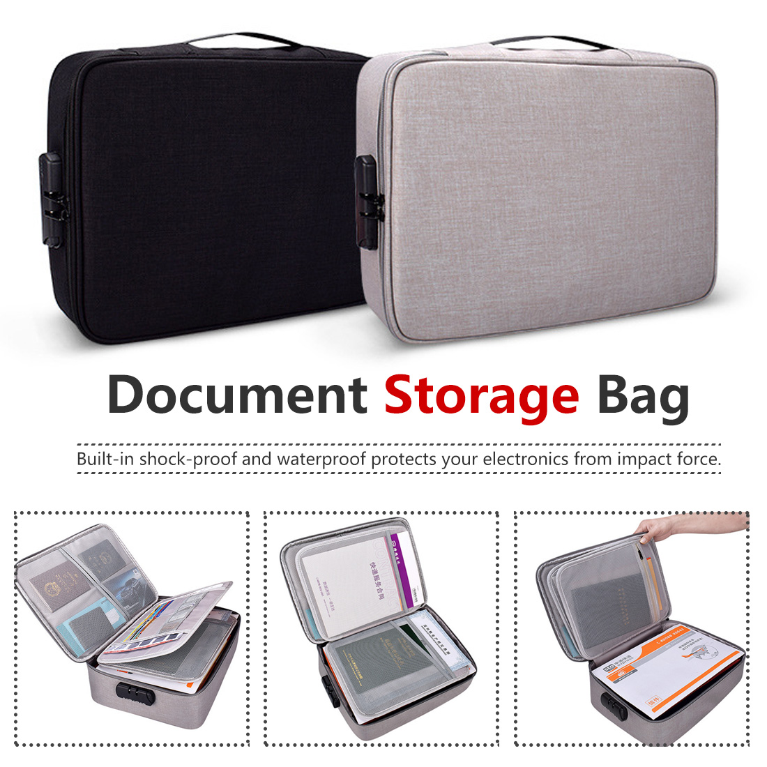 Polyester Waterproof Document Bag Document Holder Zipper Closure Portable Filing Pouch Fabric Pouch Bag File Bag