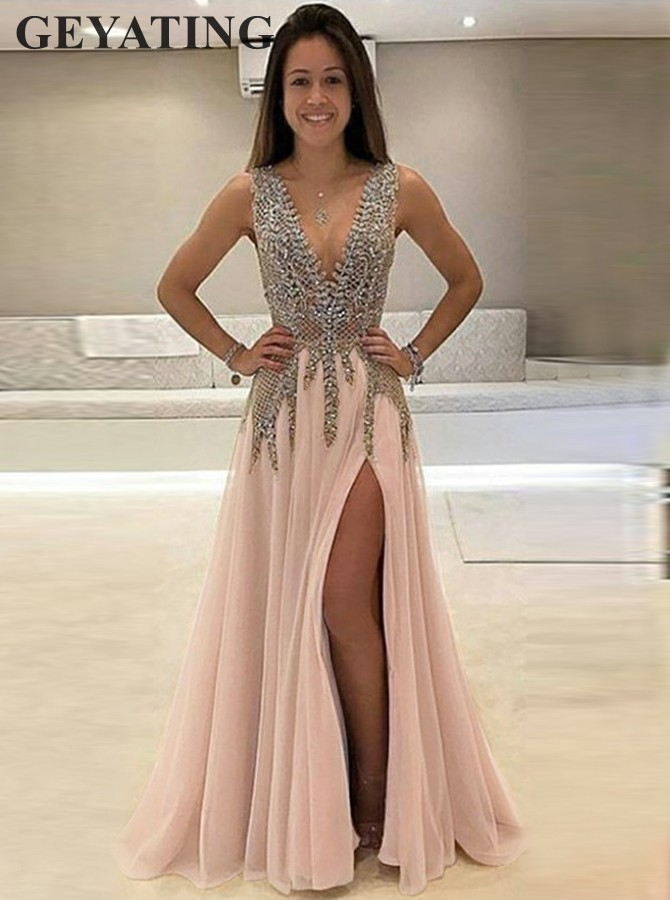 Sexy Deep V-Neck Blush Pink Tulle   Prom     Dresses   Long Elegant Crystal Beaded Slit Evening   Dress   2019 Backless Formal Party Gowns