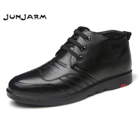 JUNJARM 2017 New Handmade Men Winter Boots Fashion Designer Men Ankle Boots Casual Flats Lace Up