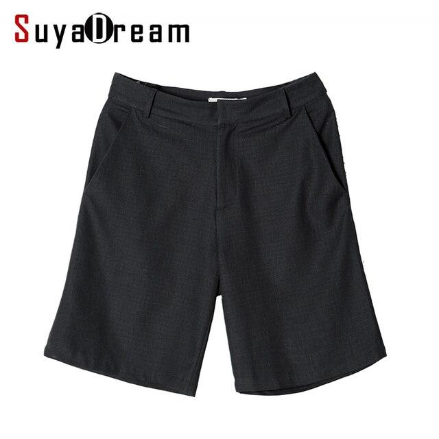 Women Silk Cotton Shorts 60%Real Silk 40%Cotton Black short pants 2017 Spring Summer New