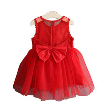 цена на 2019 Girls Summer Dress Korean Sweet Bow Lace Red Kids Children Birthday Party Dress Ball Gown White Baby Girl Princess Dresses