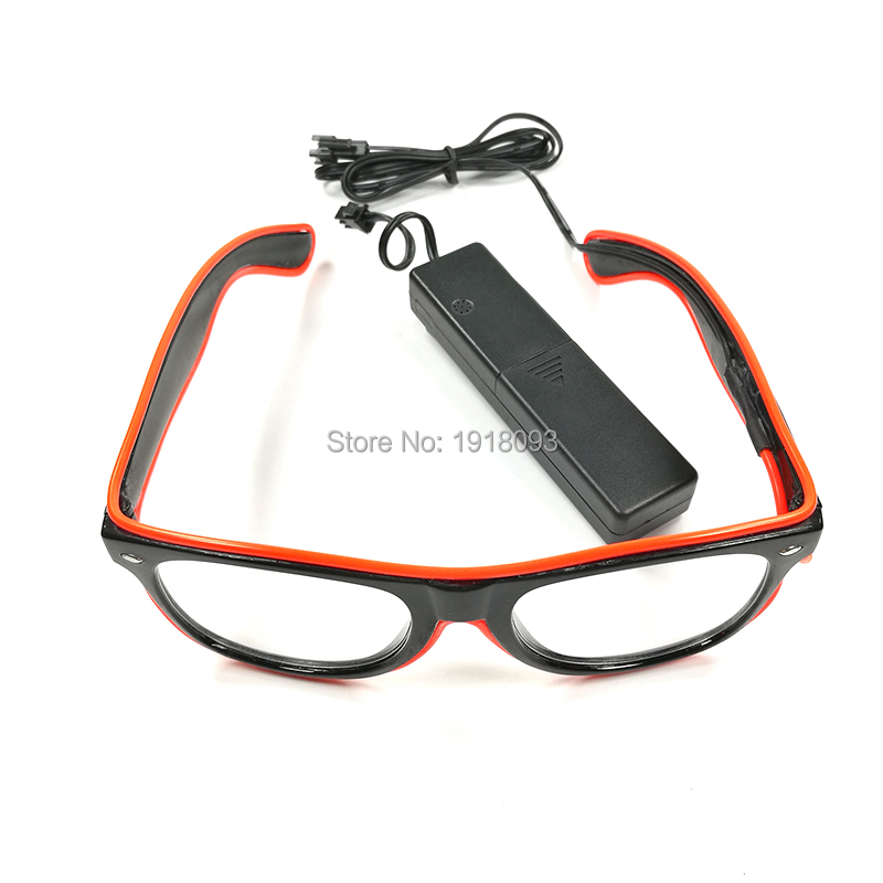 Boîte de nuit accessoires d'éclairage de vacances EL fil lunettes avec conducteur activé par le son 5 pièces néon lumière lunettes 10 couleurs
