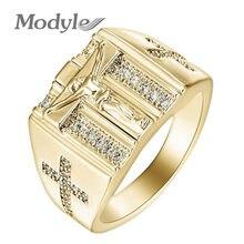 Modyle-anillo de oro con Circonia cúbica para mujer, sortija, Cruz, Zirconia, circonita, zirconita, zirconita, circón, estilo Punk, 2020