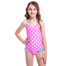 Cute Kids Swimsuit for Children Girls Dot Striped Print Bathing Suit Girls Clothes Holiday Beachwear Swimming Costume Swimwear цена
