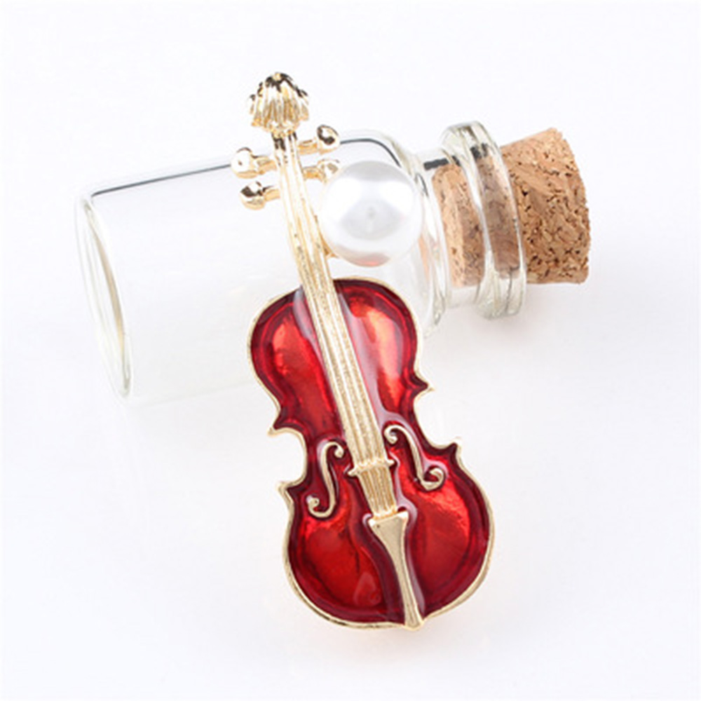 Brand New Faux Pearl Rhinestone Violin Shaped Enamel Pins Elegant Women Brooch Trendy Clothes Accessories High Quality image