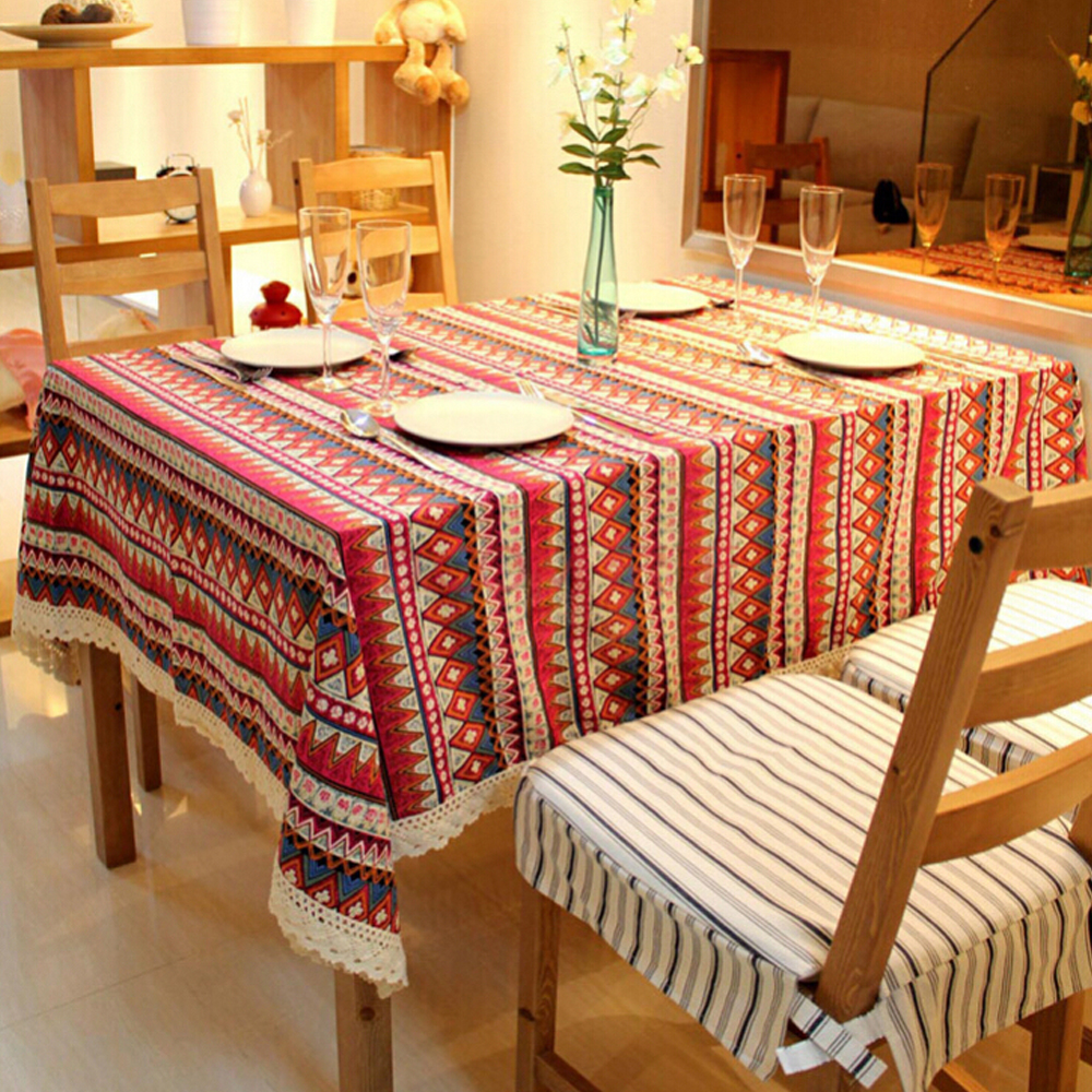Yazi Red Rectangle 90x140cm Bohemian Style Lace Table  : yazi Red Cotton Linen Bohemian Style Lace Table Cover Dining Room Tablecloth Wedding Banquet Party Mother from oliviadecor.com size 1000 x 1000 jpeg 868kB