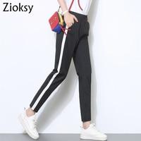 Zioksy Verão Nova Moda Casual Calças Femininas Branco Listrado Patchwork Pantalon Skinny Slim Harem Pants Loose Women Preto Macio
