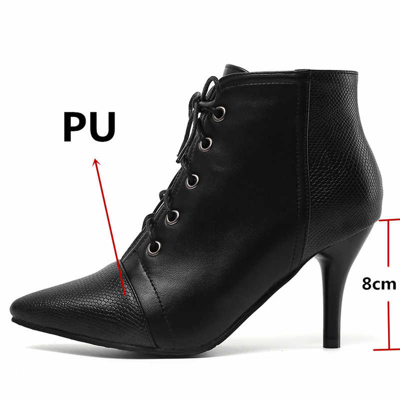 FEDONAS Kadın Ince Yüksek Topuklu Sivri Burun Kısa yarım çizmeler Çapraz bağlı Parti Balo Ayakkabı Kadın 2020 Sonbahar Kış Çizmeler kadınlar için