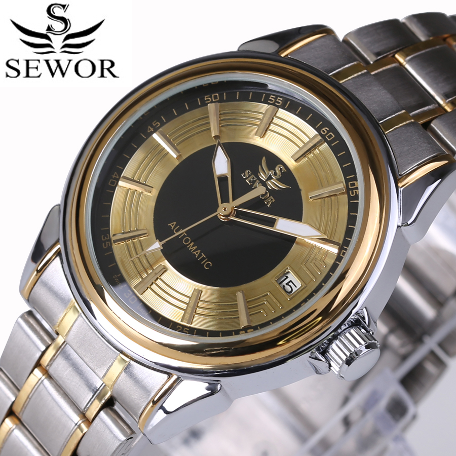 2016 Top Luxury Brand SEWOR Men Automatic Mechanical Watch Full Steel Mens Watches Sports Military Wrist Watches Waterproof top luxury sewor big automatic military watch men gift gold stainless steel diamond skeleton clock mechanical mens wrist watches