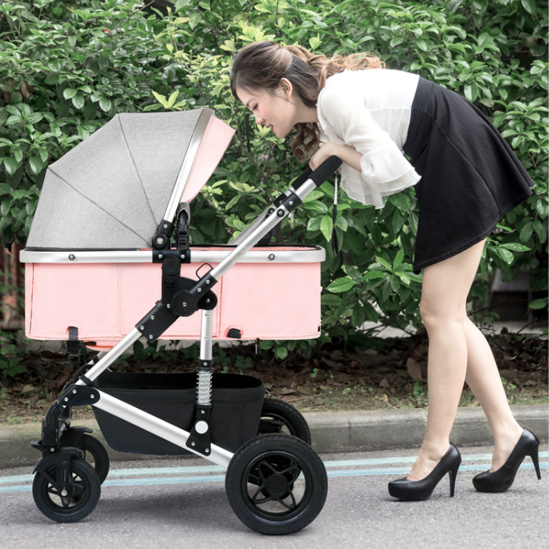Baby Stroller 3 in 1 with Car Seat For Newborn Light Weight High Landscape Baby Carriages can sit lie fold on the plane все цены