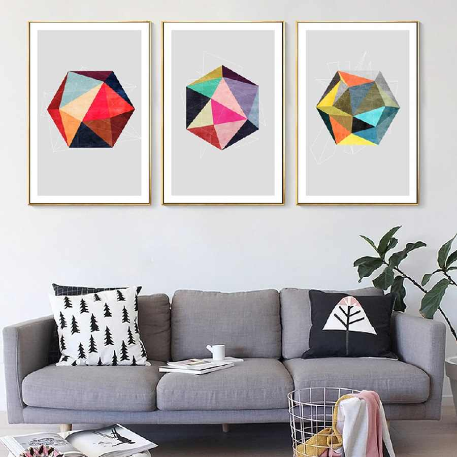 Nordic Minimalist Abstract Color Decorative Painting Wall Art HD Printed Pictures for Living Room Decoration Canvas Poster