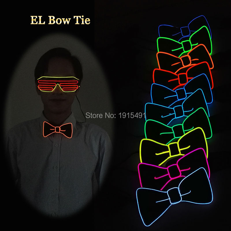 TOP Selling 10 Color Select Neon Led Light Up Butterfly Bowtie Holiday Lighting Illuminate EL Cold Light Tie for Rave Costume
